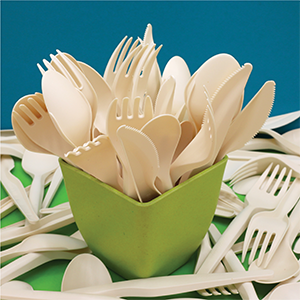 Packaging materials and disposable tableware from thistle